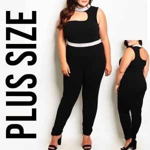 Plus Size Embellished Bling Jewel One Jumpsuit